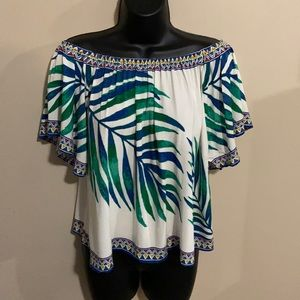 NWT Flying Tomato Off The Shoulder Tropical Top